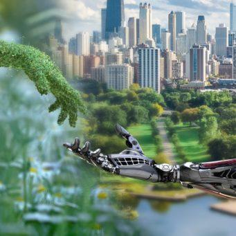 vignette représentant le développement alliant nature et technologie