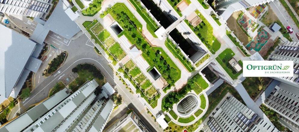 Photo vue du ciel d'une toiture verte en zone urbaine