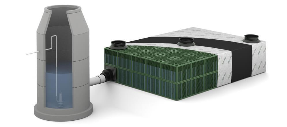 schéma d'agencement de système de récupération d'eau pluviale en maison