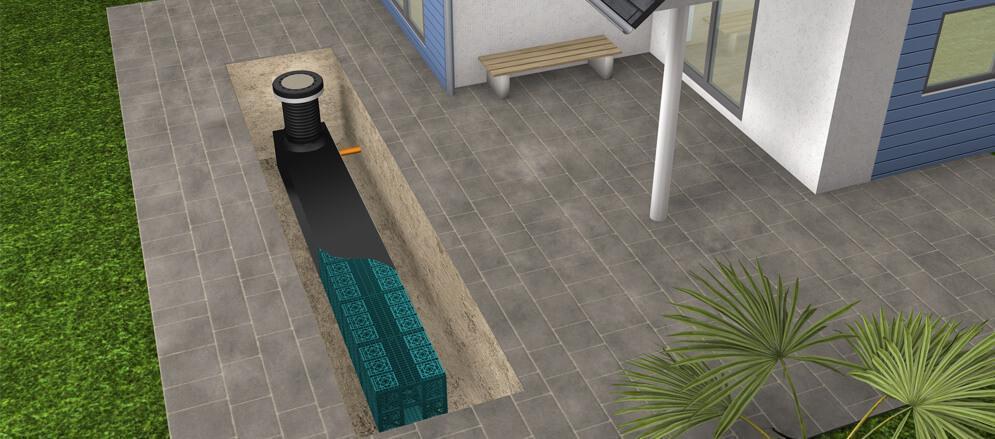 schéma d'agencement de système de récupération d'eau pluviale sous la terrasse