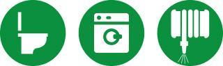 pictogrammes de toilette, machine à laver et engin d'entretien