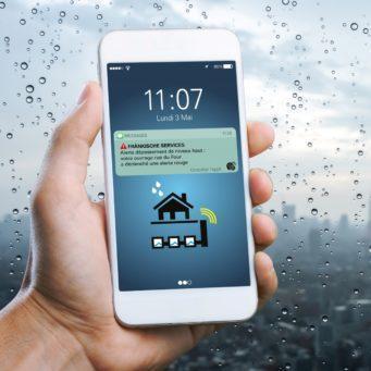 photo d'une notification de l'application Fraenkische sur smartphone