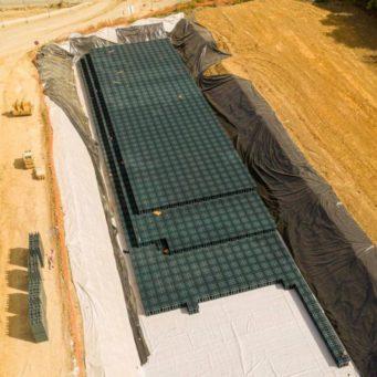 Image vue du ciel de notre chantier du centre d'entrainement de football à Poissy dans le département 78